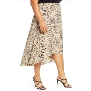 Leith Leopard Animal Print High Low Midi Skirt